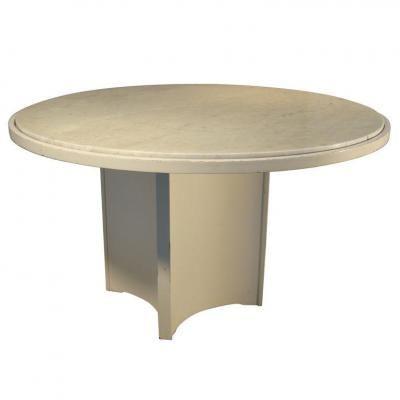 Travail francais 1960 grand table de salle a manger en contreplaque laque plateau de marbre e - Table salle a manger plateau marbre ...