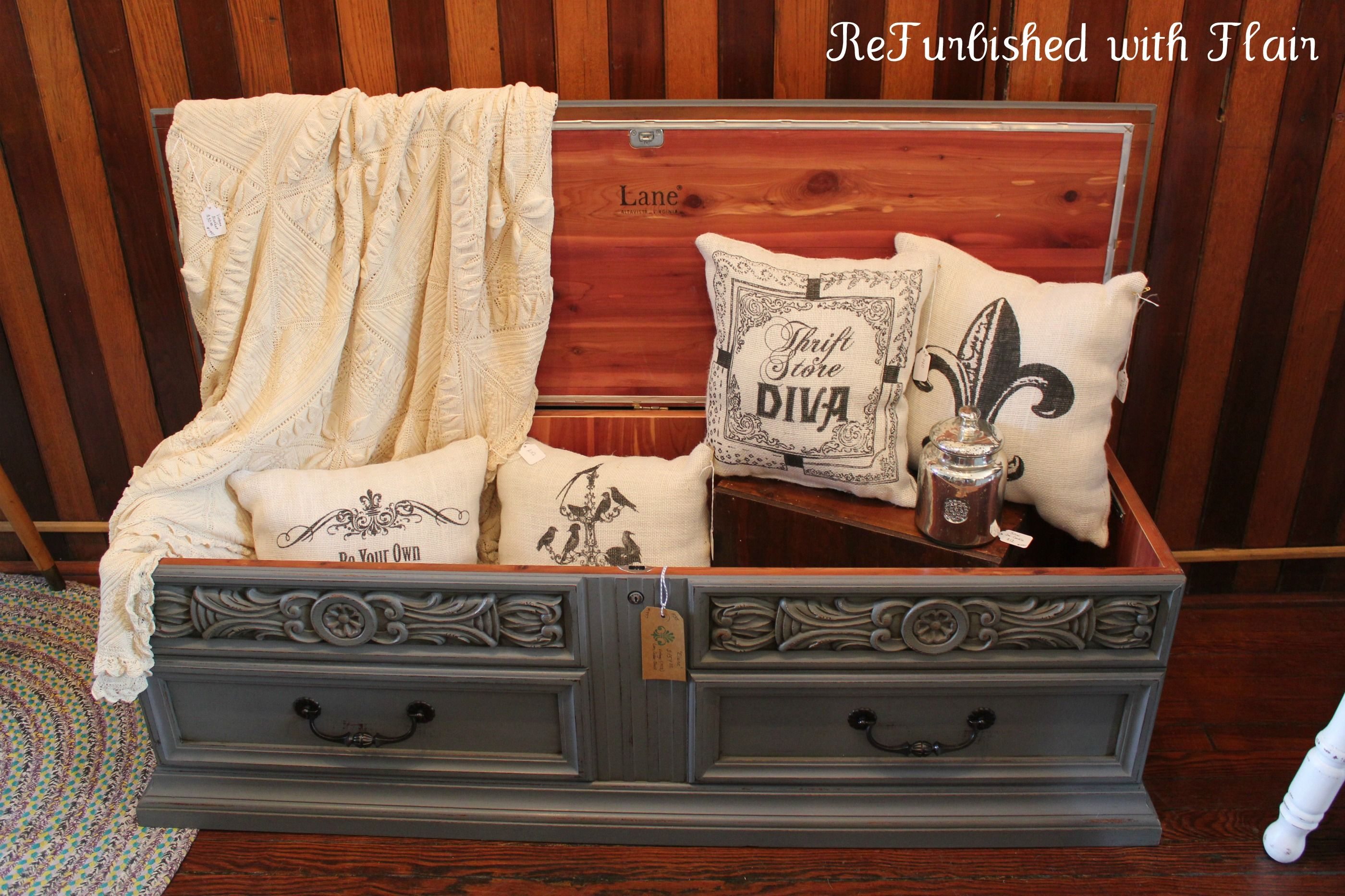 Lane Cedar Chest Painted With Maison Blanche's Confederate