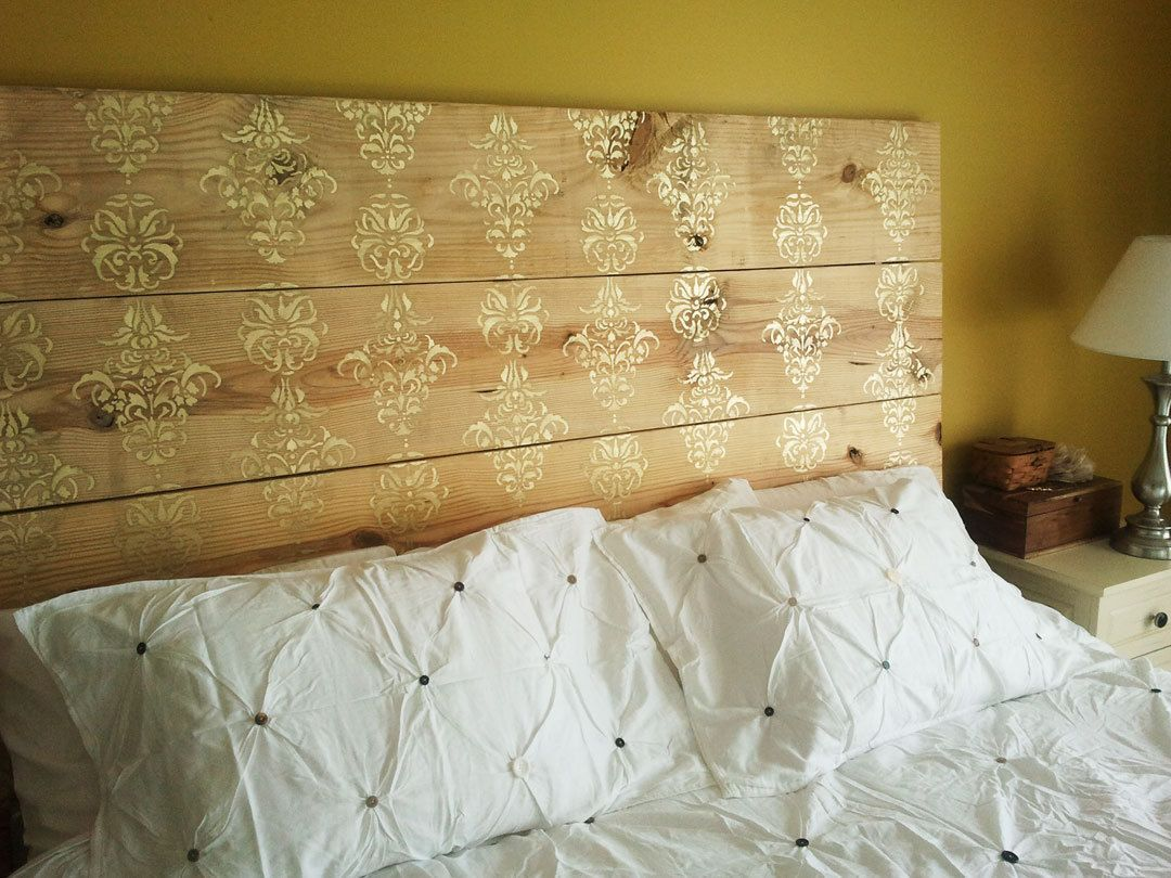 Gold Stenciled Plank Headboard | Plank, Stenciling and Bed headboards
