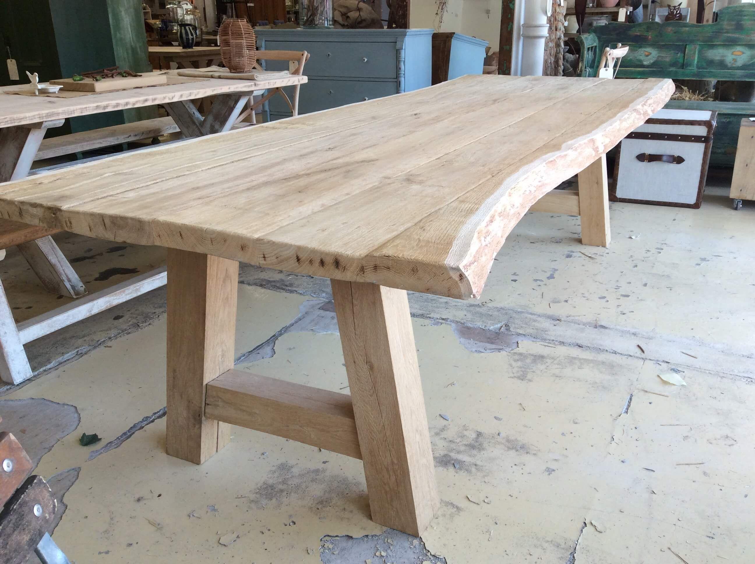 Waney Living Edge Oak Table Ark Vintage Vintage Retro Waney Living Edge Oak Table Ark Vi In 2020 Oak Table Live Edge Wood Dining Table Live Edge Oak Table