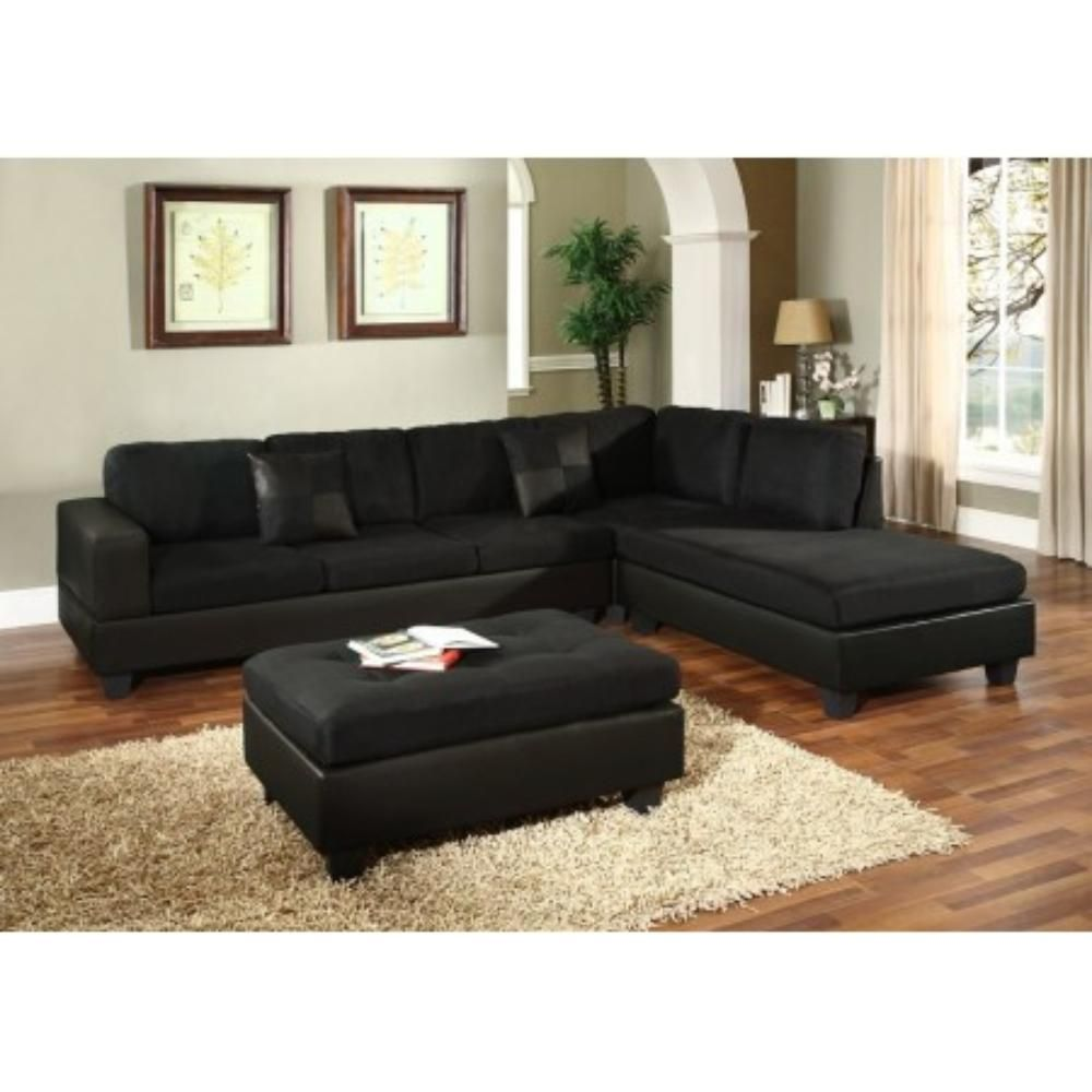 Black Sectional Living Room Sofa With Ottoman Product