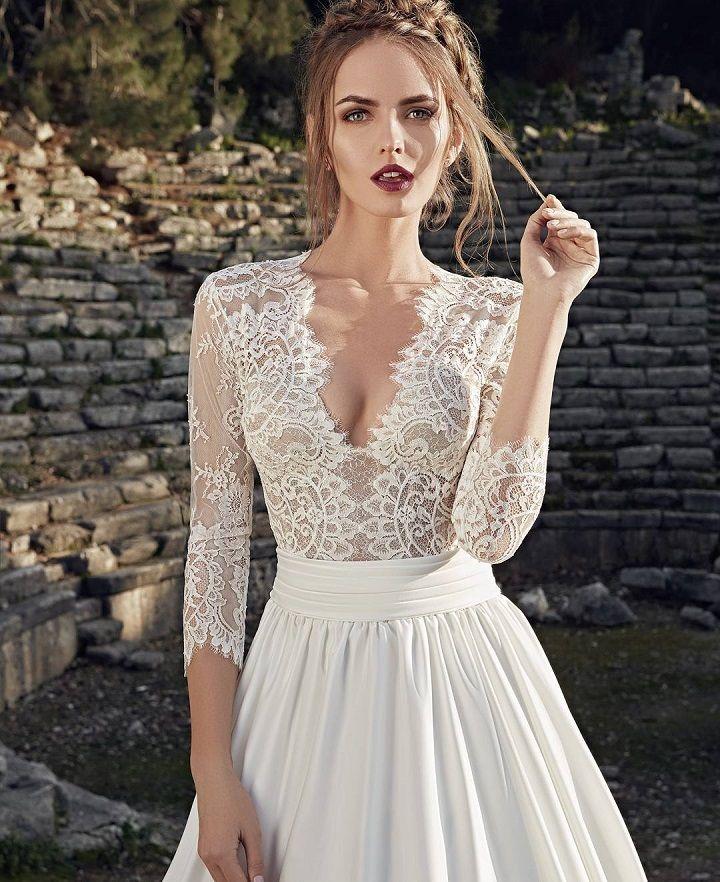 Tea length sleeve Wedding Dress #tealength #weddingdress #weddingdresses #weddinggown #bridalgown #bridaldress #bride #mermaidgown #wedding
