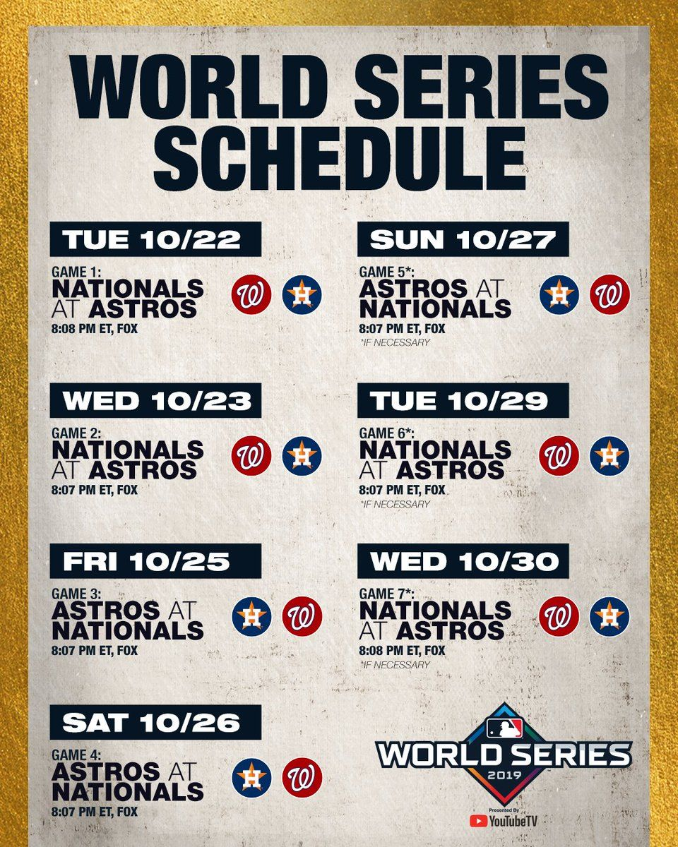 Full World Series Schedule National Games World Series Mlb