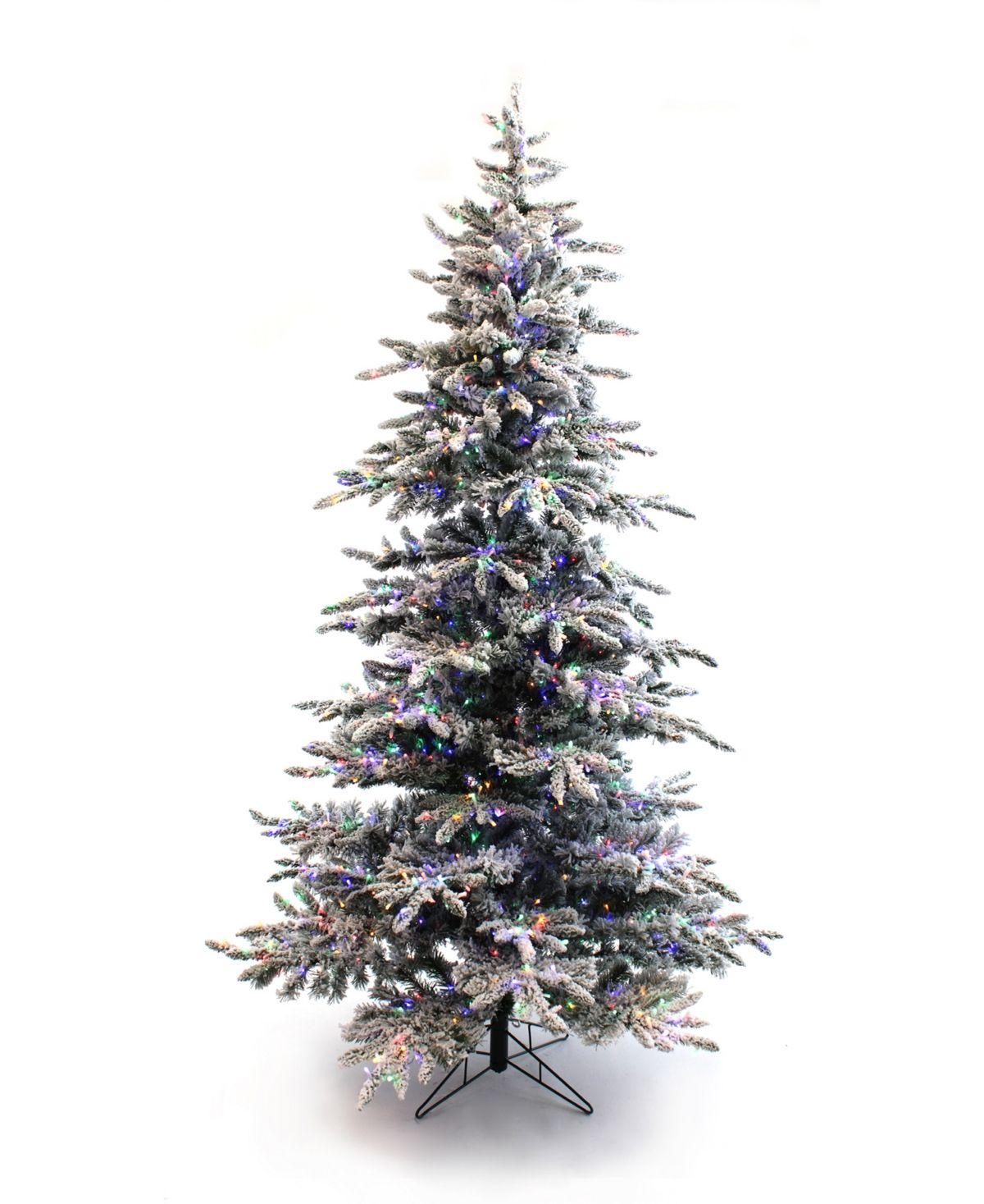 Perfect Holiday 5' PreLit Slim Flocked Christmas Tree