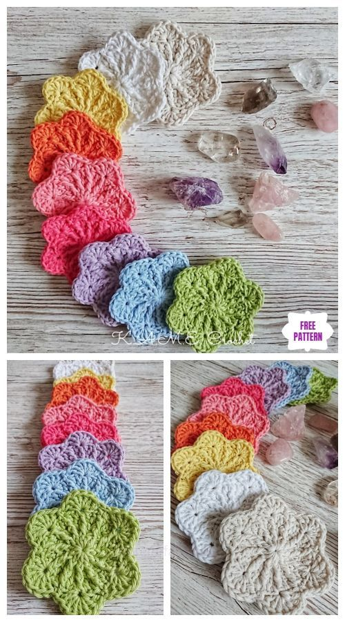 Crochet Sakura Face Scrubbies Free Crochet Pattern - DIY Magazine