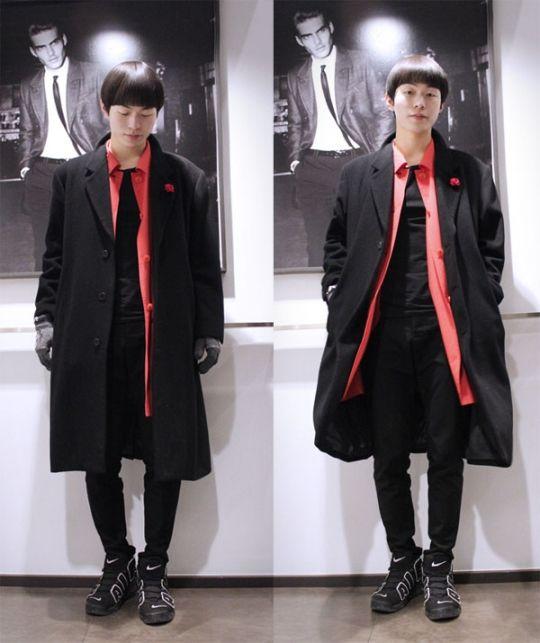 black coat, korea street fashion, fashion sns, www.seoulthespot.com