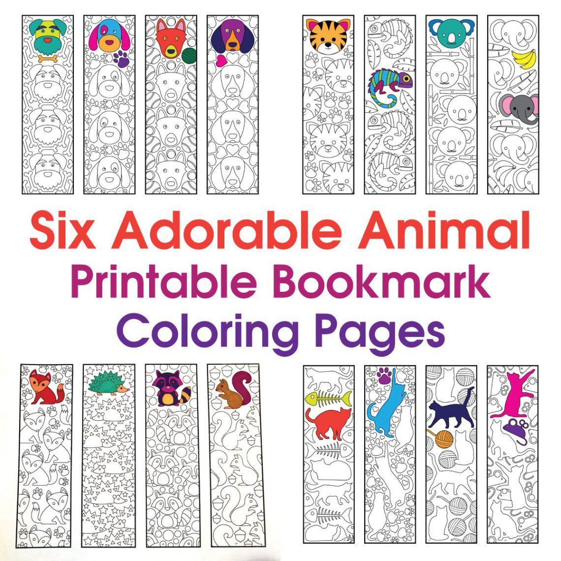 Six Adorable Animal Bookmarks Printable Coloring Pages Coloring Bookmarks Free Coloring Bookmarks Bookmarks Printable