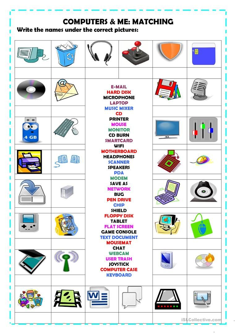 Computers Matching Worksheet Free Esl Printable Worksheets Made