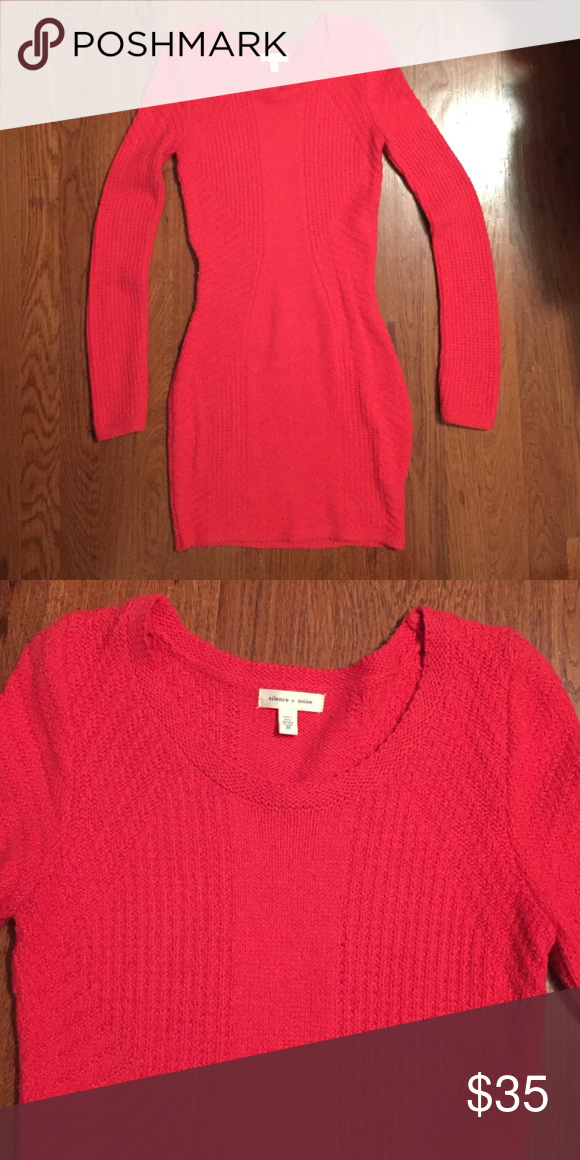 Medium coral sweater dress Dark coral sweater dress from urban outfitters. Wore once Urban Outfitters Dresses Long Sleeve