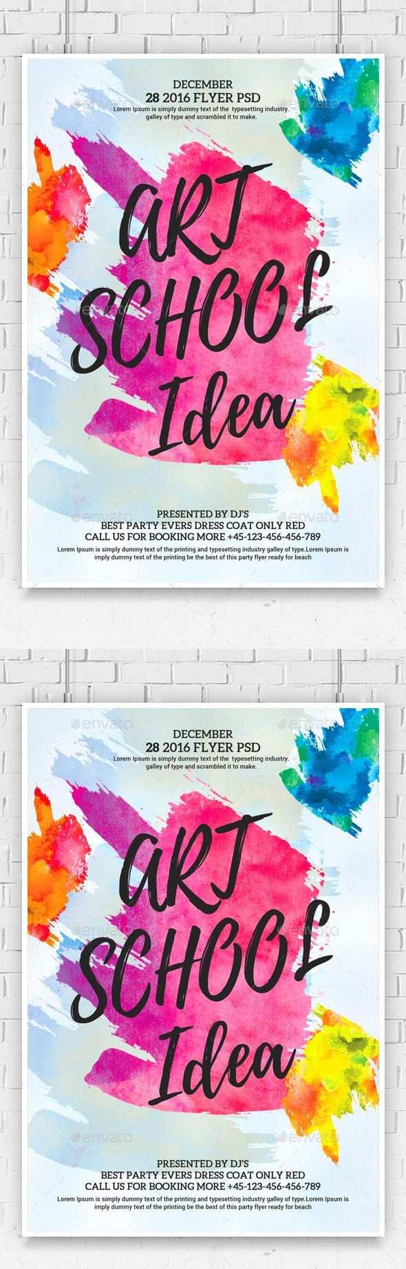 Watercolor Art Flyer Template Psd Template Illustration Nexa