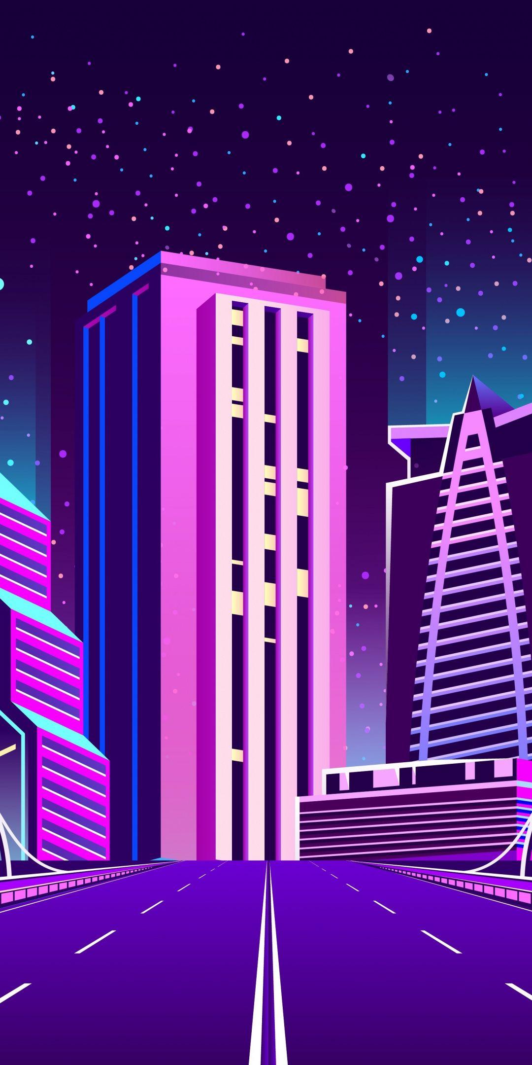 Digital art, road to city, cityscape, buildings, 1080x2160 wallpaper