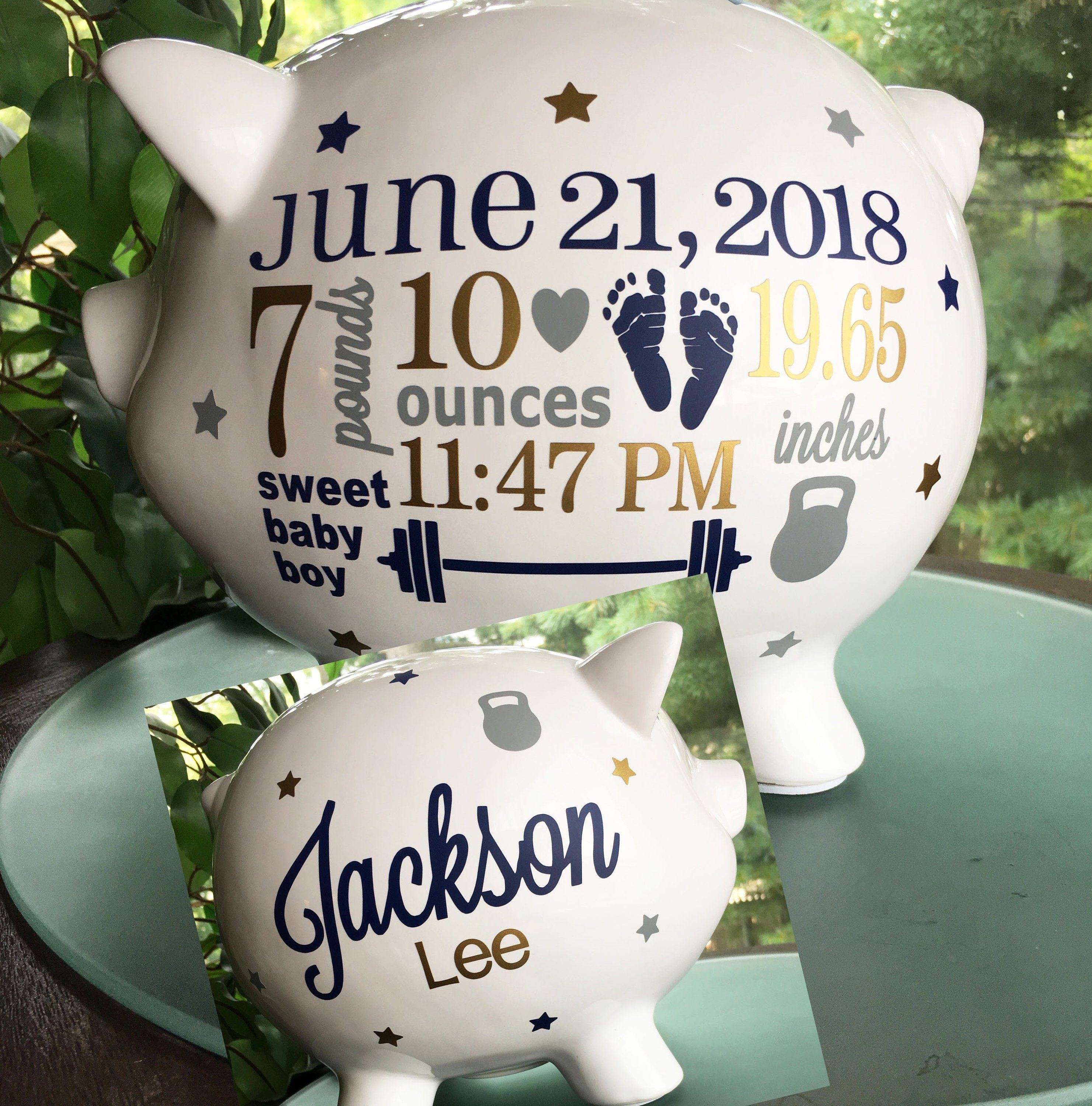 Personalized Piggy Bank Barbell Kettle Bell Baby Weightlifting Baby Baby Boy Custom Piggy Bank Baby Boy Sports Gift Piggy Bank Personalized Piggy Bank Piggy Bank Unique Baby Gifts