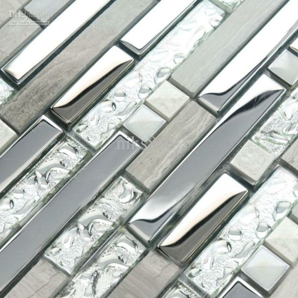 Interlocking Mosaic Tile Plating Crystal Glass Stainless Steel And Stone Blend Bathr Glass Tile Backsplash Kitchen Metallic Backsplash Kitchen Tiles Backsplash