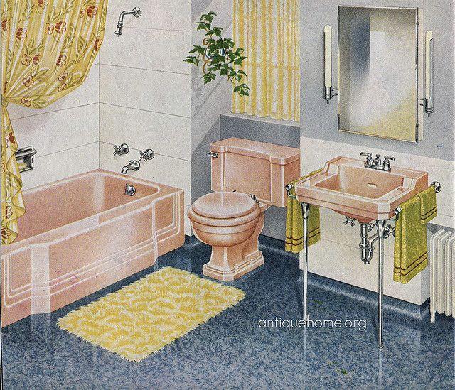 1940 S Pink Bathroom With Images Pink Bathroom Pink Bathroom Vintage Orange Bathroom Accessories