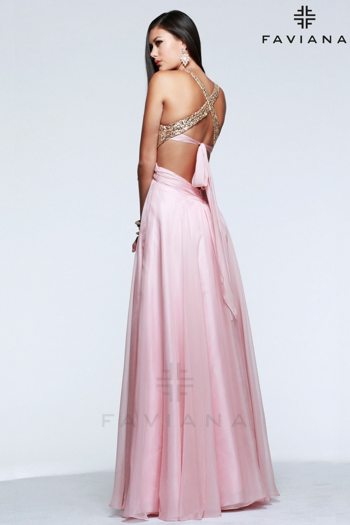 Faviana chiffon prom dress with sparkle bodice and criss-cross tie ...