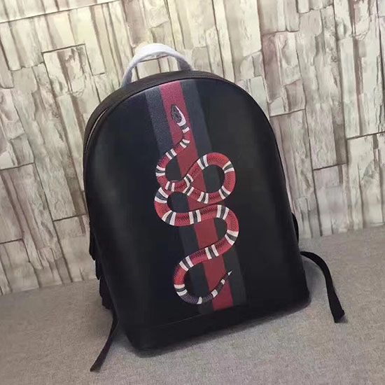 bcb7a8c5ce64 Gucci Web and Kingsnake Print Leather Backpack 419584