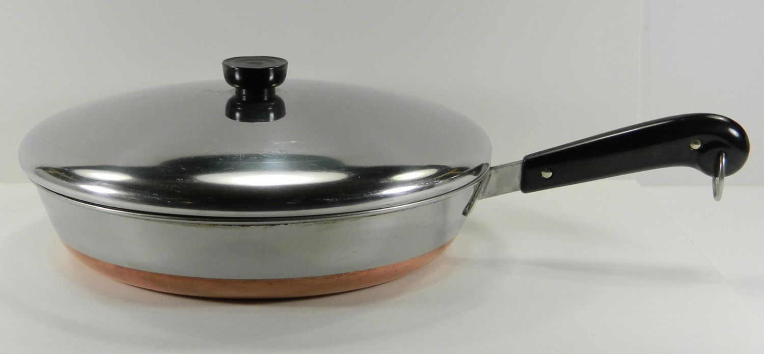 Revere Ware 12 Quot Frying Pan With Lid Vintage Copper Clad Stainless Steel Copper Bottom Large Fry Pan 15445 Large Fries Revere Ware Kitchenware