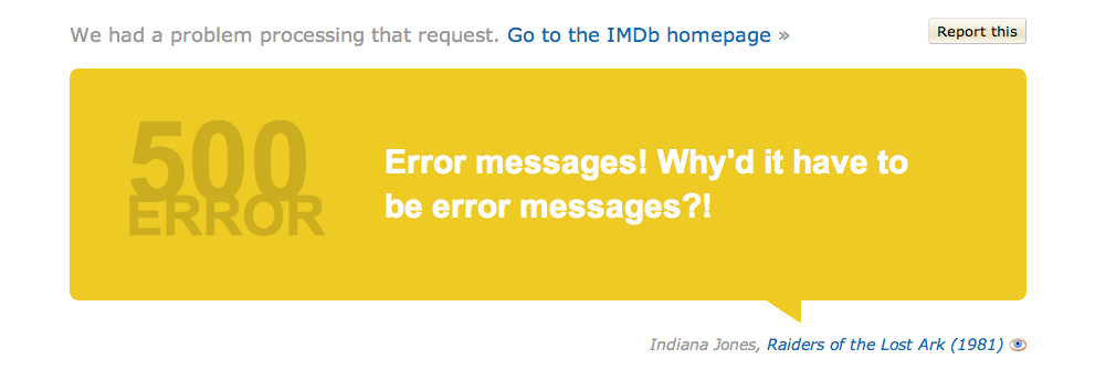 Imdb  The  Error Message Is Based On A Movie Quote  User