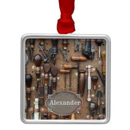 Vintage Woodworking Antique Tools Personalized Metal Ornament | Zazzle.com