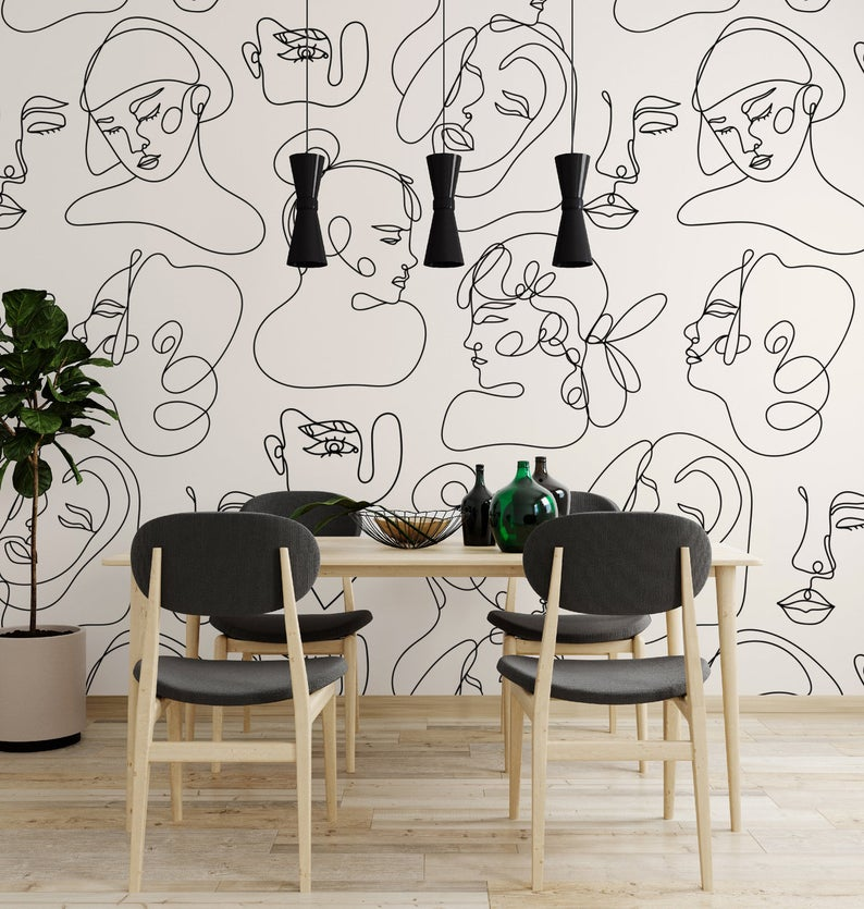 Art Wallpaper Self Adhesive Peel And Stick Abstract Faces Wall Etsy In 2021 Wallpaper Living Room White Wallpaper Mural Wallpaper
