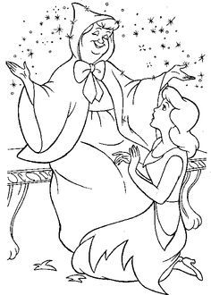 Fairy Godmother Helps Cinderella Coloring Pages