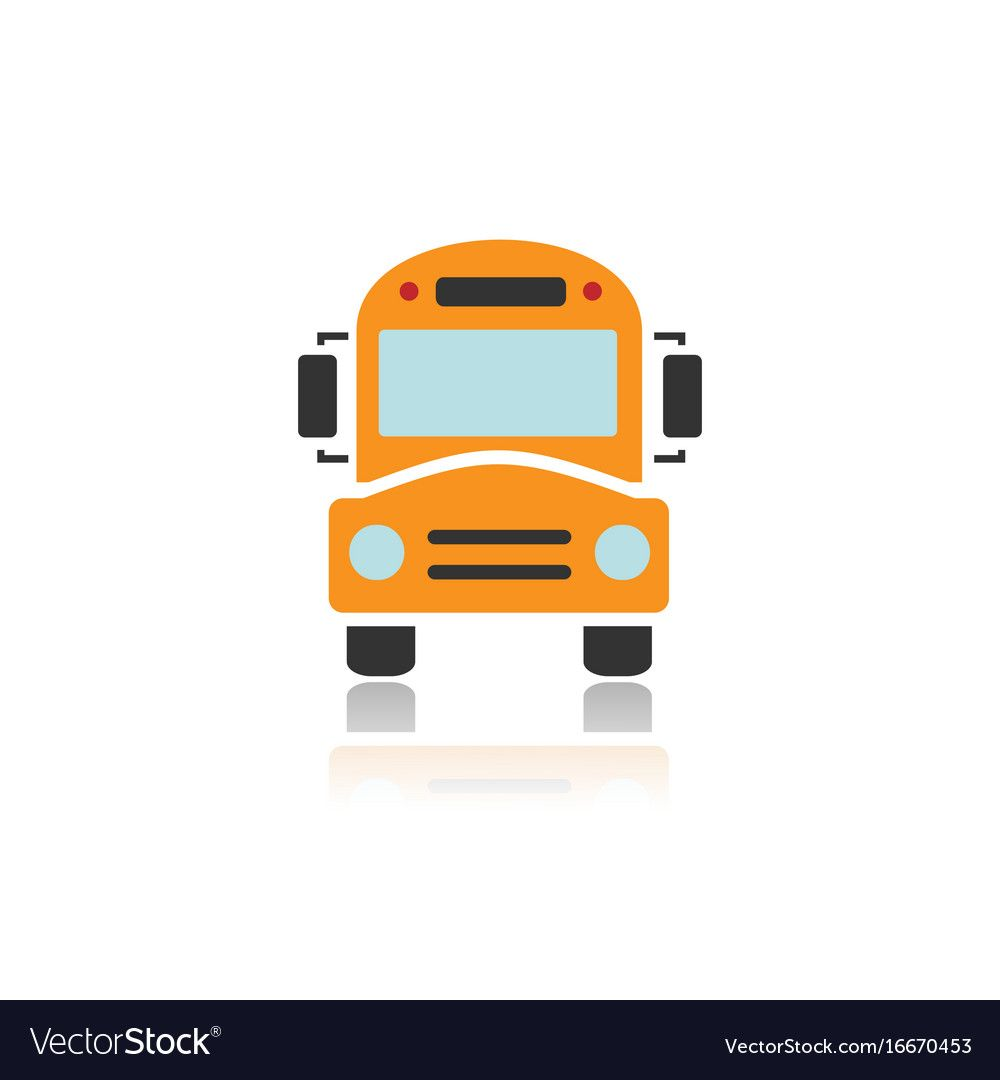 Bus school icon with color and reflection Vector Image