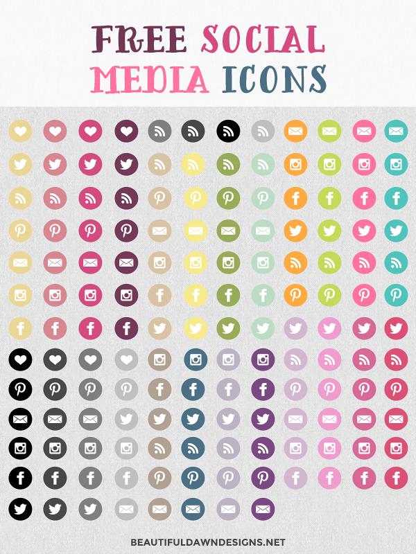 Free Social Media Buttons Beautiful Dawn Designs
