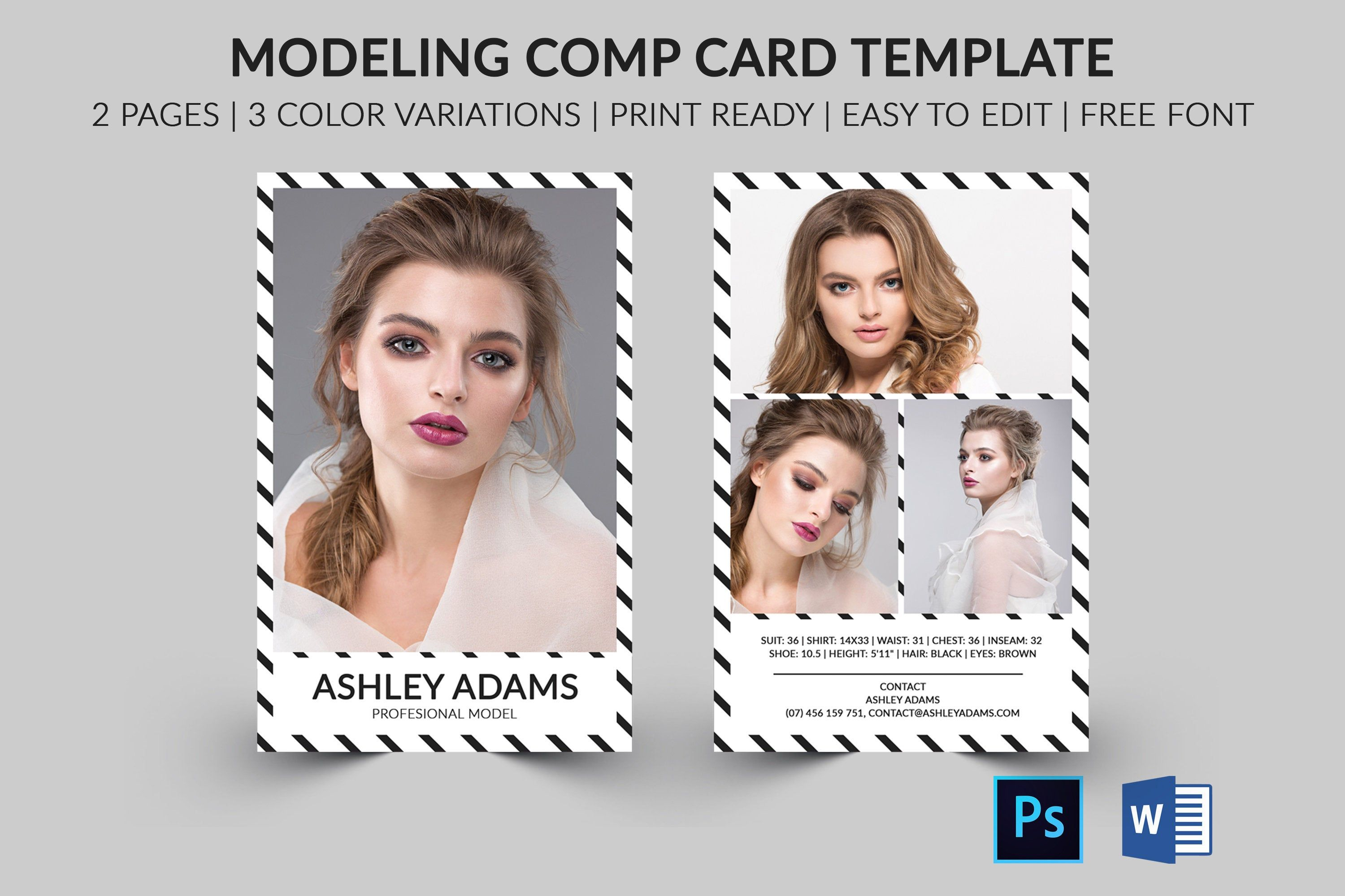 Modeling Comp Card Model Agency Zed Card Photoshop Elements Ms Word Template Modeling Card Instant Dow Model Comp Card Card Model Card Templates Free