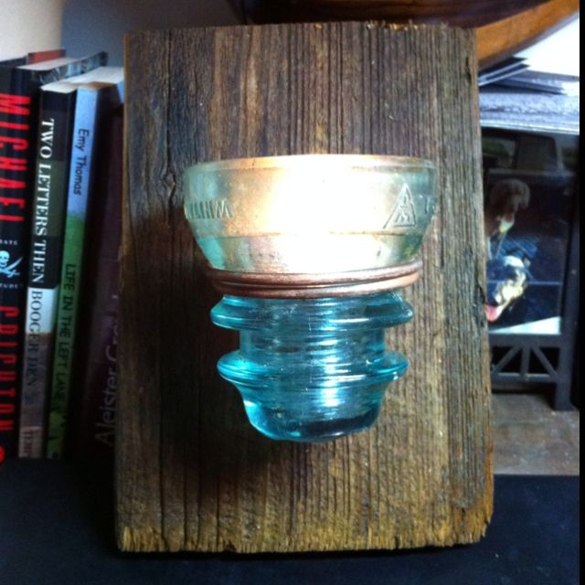 Candle holder I made from old cypress barn wood, some copper wire ...