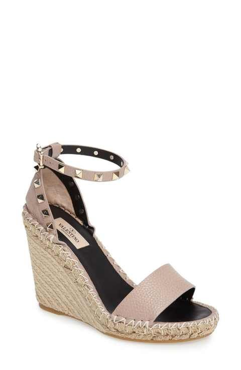 WOMENS WEDGE ANKLE BUCKLE SLINGBACK ESPADRILLE DIAMANTE DAISY PEEPTOE SANDALS