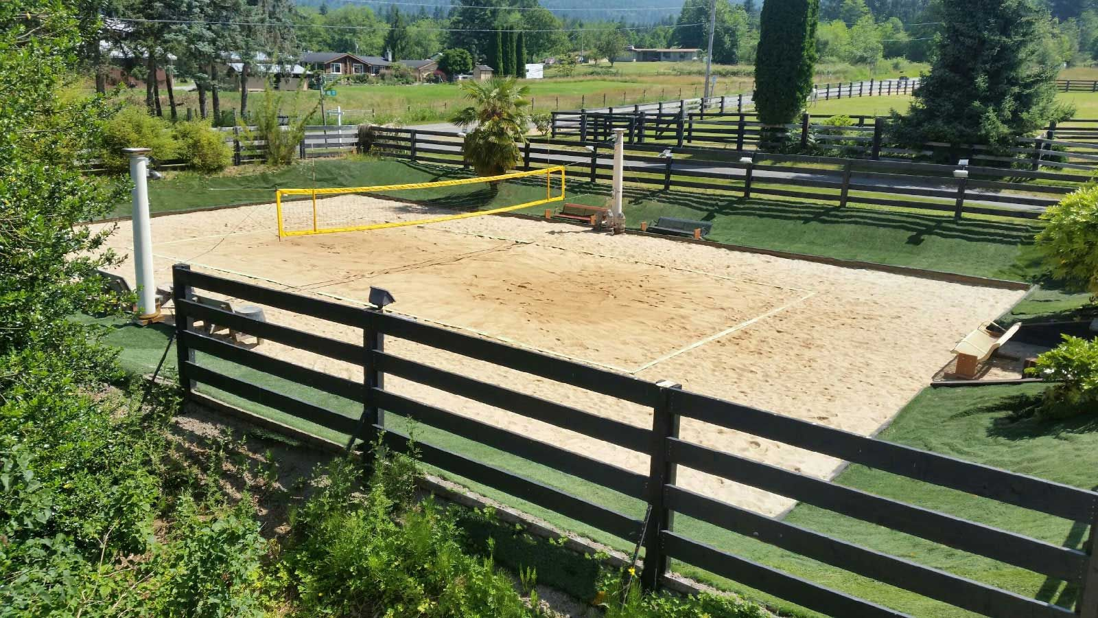 How To Construct A Volleyball Court Volleyballusa Com In 2020 Volleyball Court Backyard Backyard Diy Projects Backyard