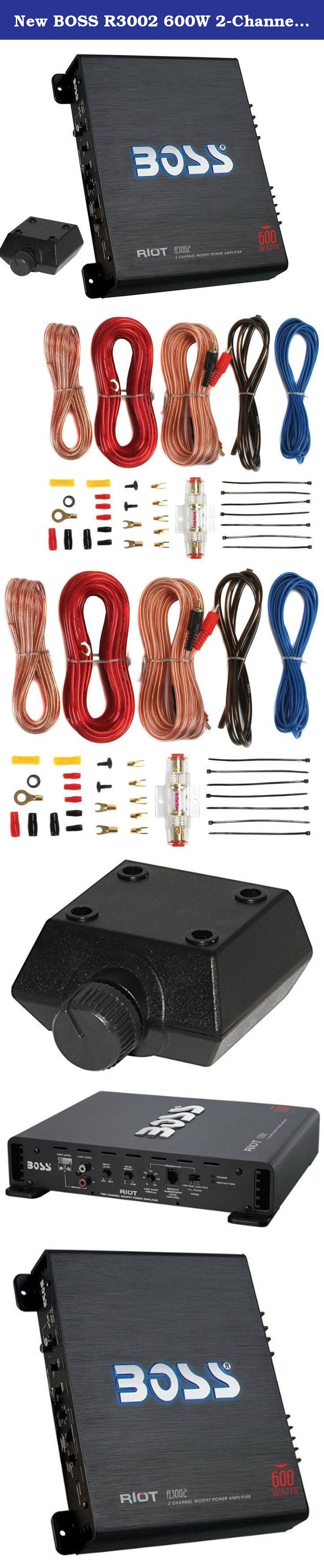 New Boss R3002 600w 2 Channel Car Amplifier 8 Gauge Power Acoustik 8ga Amp Wiring Kit Install
