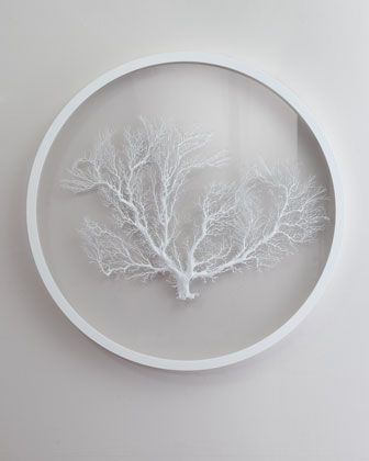 Formal Dining artwork for above buffet area on painted wall to coordinate  with wallpaper - x Karen Robertson Collection Round White Sea Fan Wall Decor