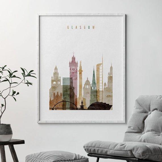 Glasgow Print, Glasgow Poster, Skyline, Wall Art, City