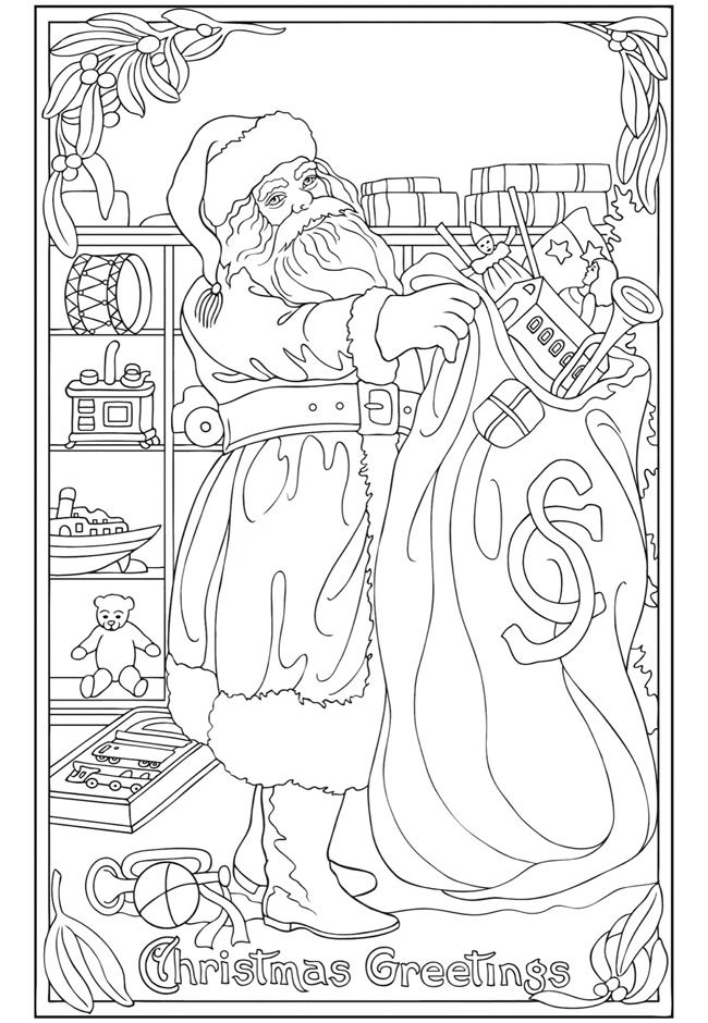 Christmas Coloring Page Saved From Vintage Greetings Book Dover Publications