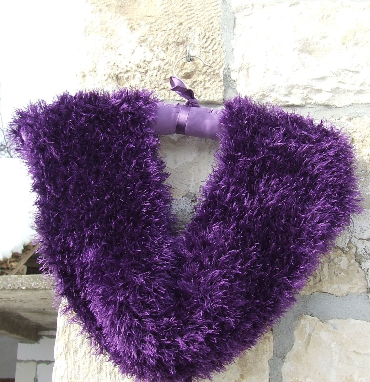 Knitted cowl - Eyelash yarn cowl - Infinity cowl - short infinity ...