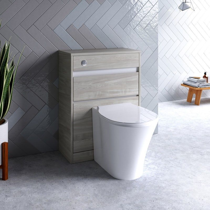 Ideal Standard Concept Air Wood Light Grey Back To Wall Unit Concealed Cistern And Push Button Concealed Cistern Back To Wall Toilets Contemporary Toilets