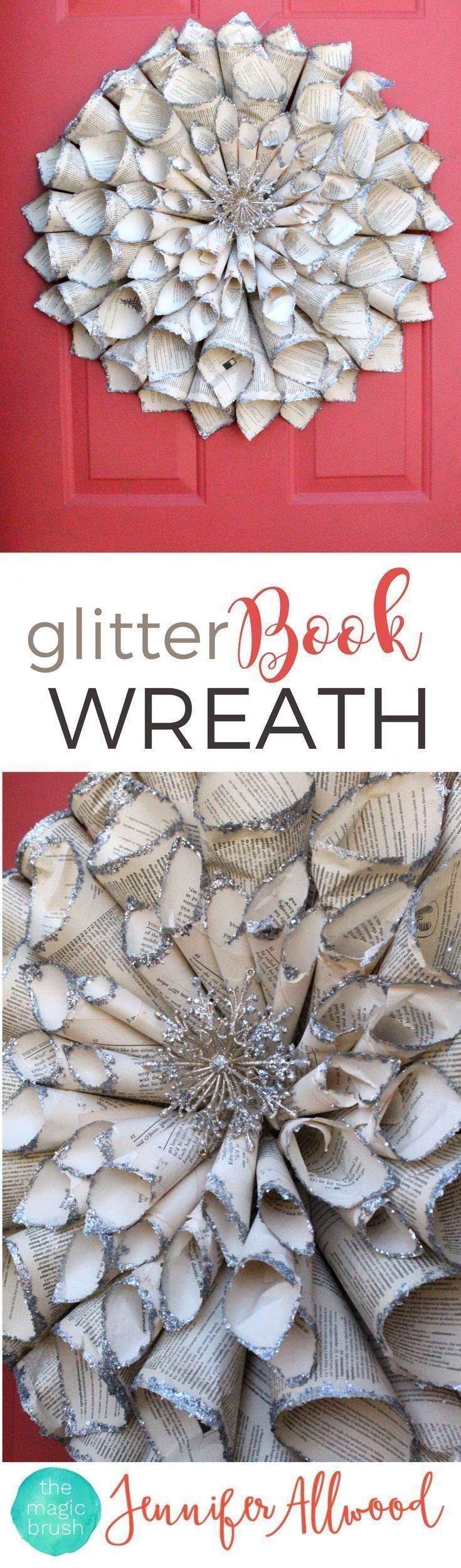 Info's : Repurpose old books with a DIY Glitter Vintage Book Wreath Door Decor   Magic Brush   Door Decorating Ideas   Girls Night In Party Ideas   #diy #diyhomedecor #holiday #christmas #home #christmasdecor #holidaydecor #wreaths