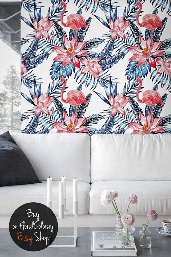 Best Pink Flamingo And Blue Palm Leaves Wall Mural Self 400 x 300