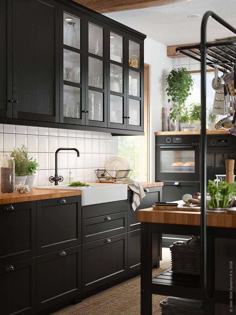 LERHYTTAN Deur, zwart gelazuurd, 60x80 cm - IKEA