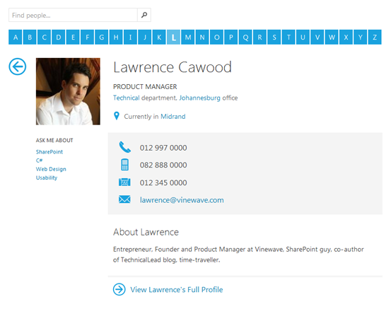 Vinewave Sharepoint Staff Directory Web Part Profile Page