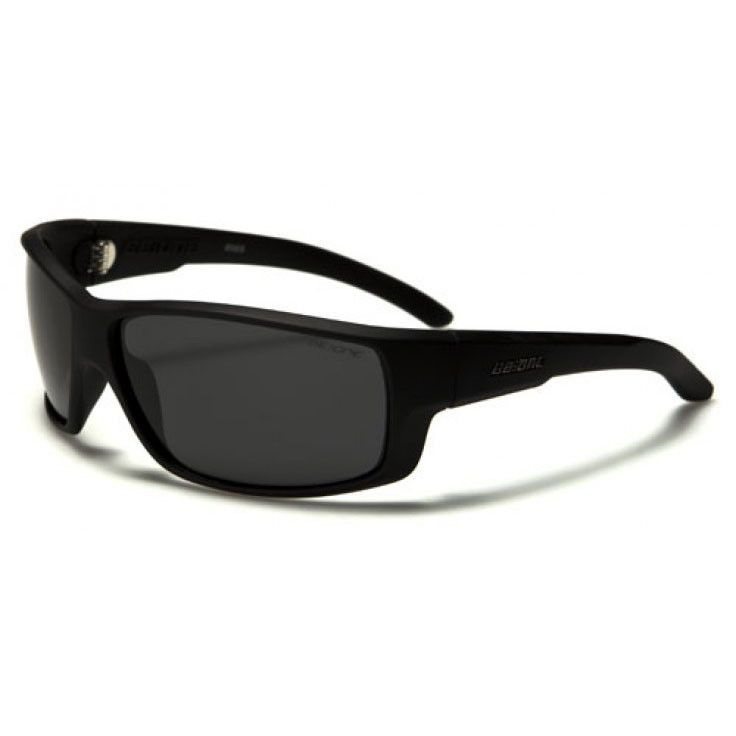 BeOne Mens Wrap Sports Polarized Sunglasses Matte Black with Black Lenses