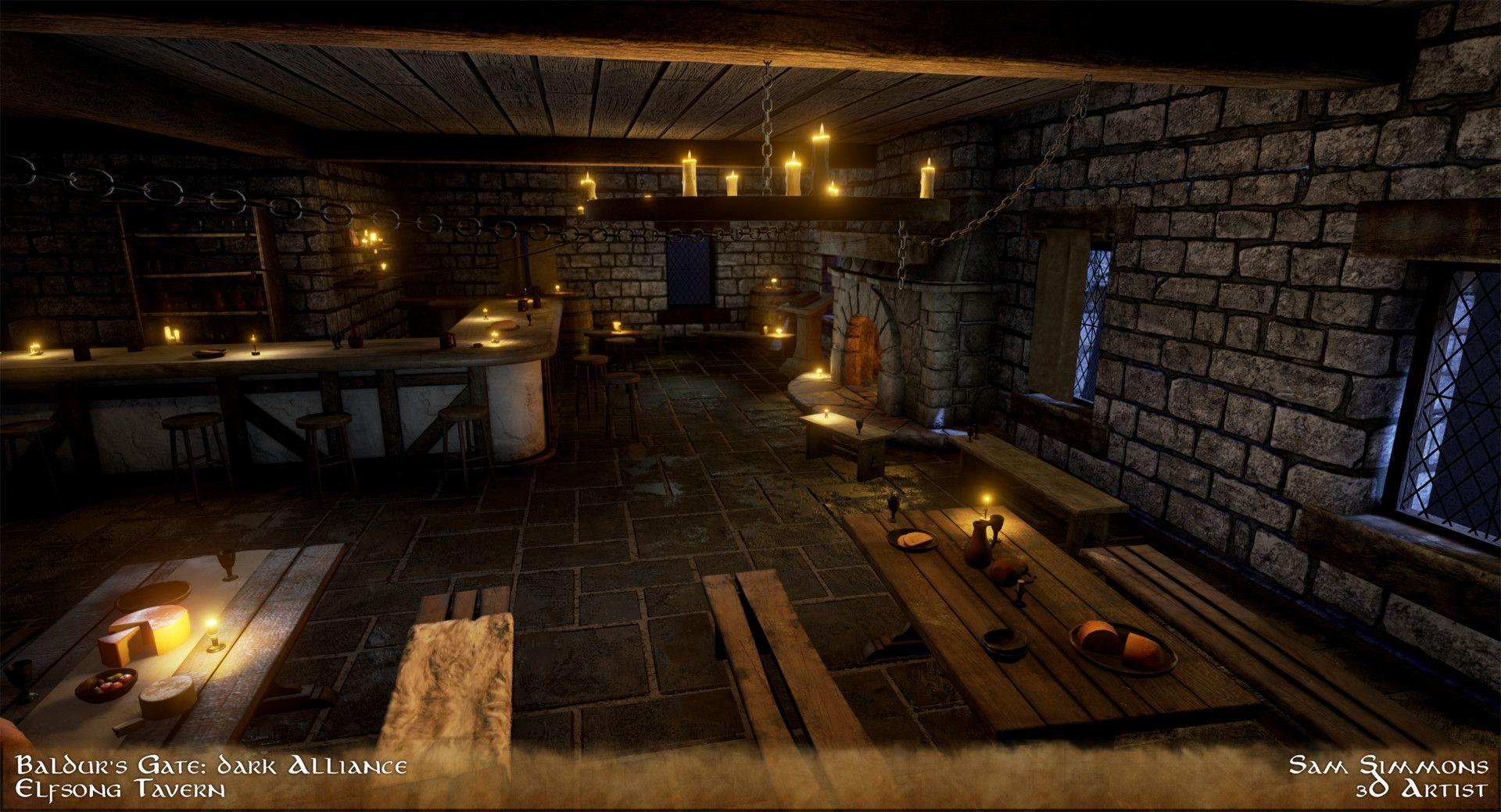 Artstation Baldurs Gate Dark Alliance Elfsong Tavern