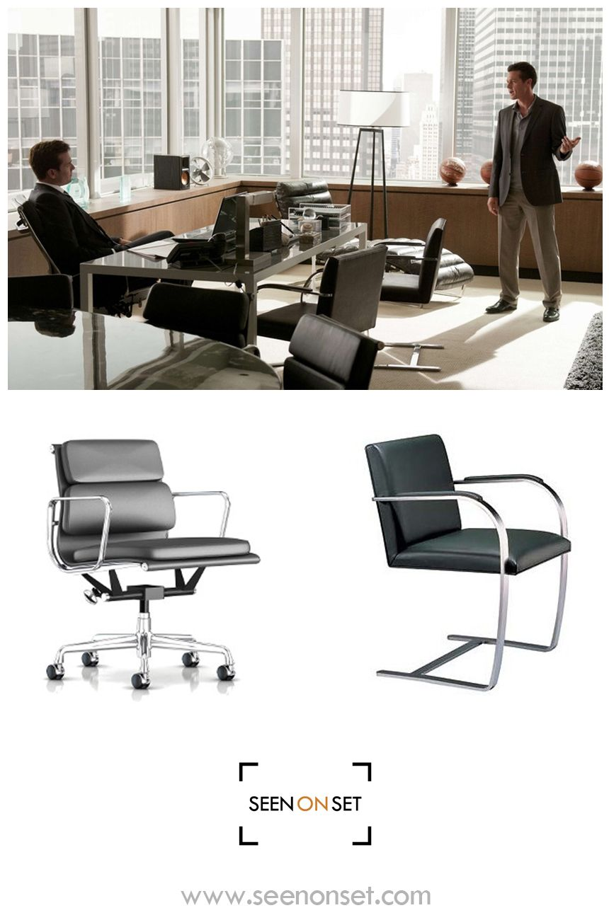 Suits Is A Very Stylish Tv Show Seen On Set Here Is The Eames Soft Pad Management Chair And The Brno Flat Bar Chair Furniture Furniture Shop Cool Furniture