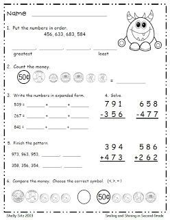 Second Grade math--FREE--Monster Math--counting money, expanded ...