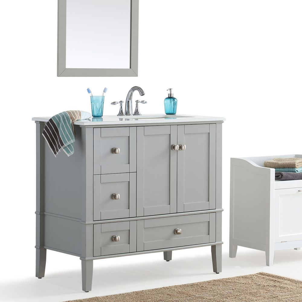 Chelsea 36 Inch Right Offset Bath Vanity With White Quartz Marble Top