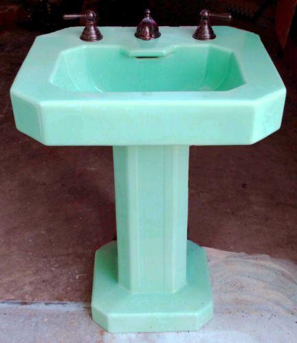 Vintage Turquoise Pedestal Sink Pedestal Sink Faucet Hardware Sink
