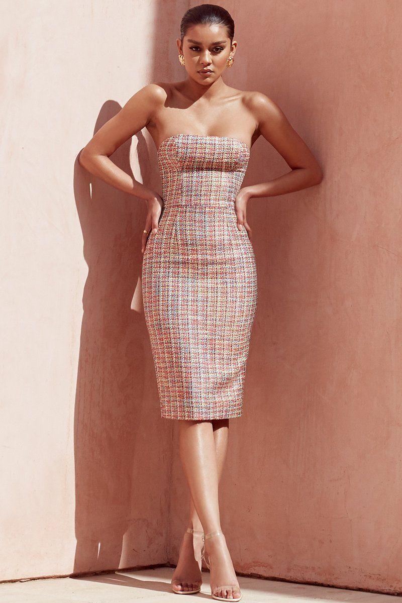 Material Polyester Spandex Strapless Midi Dress Tight Dresses Sleeveless Mini Dress [ 1200 x 800 Pixel ]