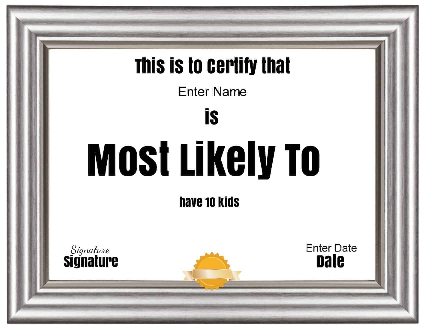 Free Customizable Most Likely To Awards In 2021 Most Likely To Awards Funny Certificates Certificate Templates Most likely to award template