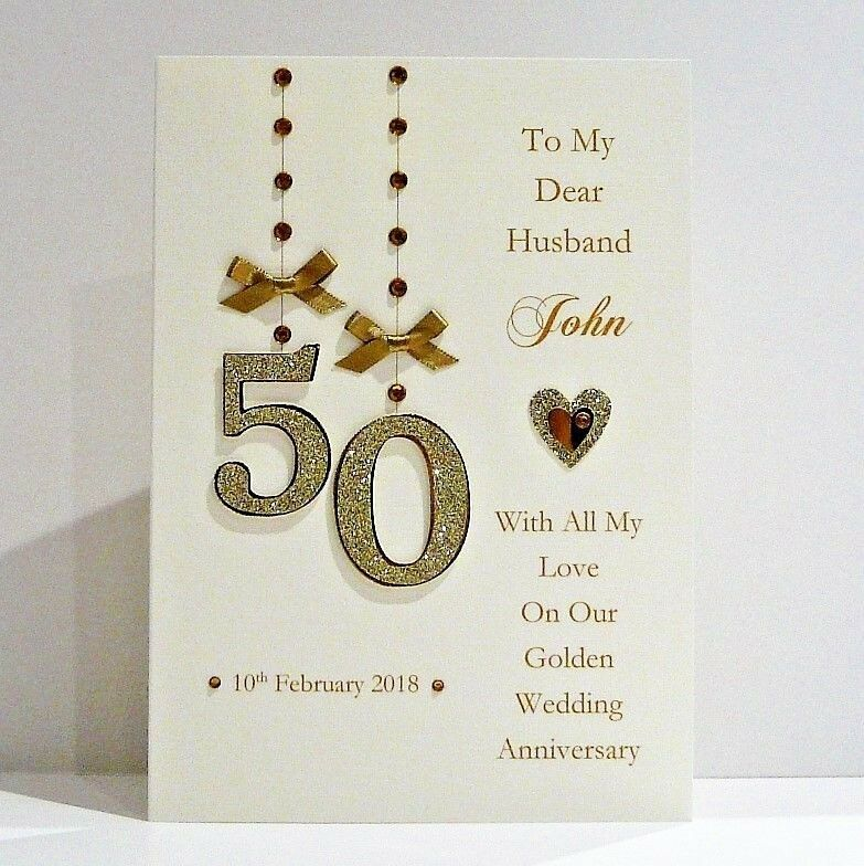 50th Golden Wedding Anniversary Card Wife Husband Mum Dad Friends Personali Golden Anniversary Cards Anniversary Cards Handmade Golden Wedding Anniversary Card